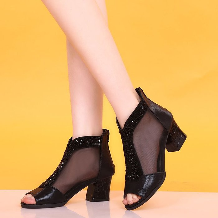 ~Linda~新款涼鞋女夏中跟高跟鞋網紗魚嘴鞋粗跟性感水鑽顯瘦大碼女鞋