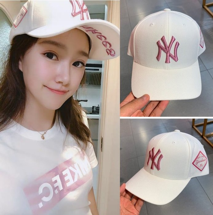 MLB 紐約洋基隊 白色玫紅標棒球帽 現貨!