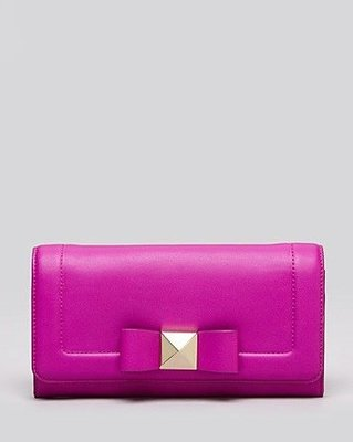 美國名牌kate spade 新款 紫桃紅色皮革蝴蝶結長夾錢包~現貨在美特價$3680~含郵