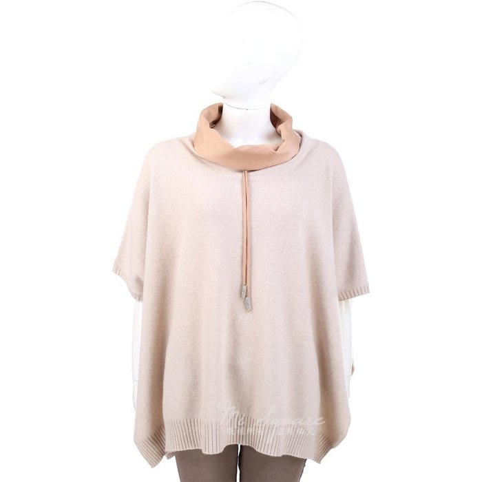 米蘭廣場 FABIANA FILIPPI 粉膚色材質拼接抽繩設計短袖毛衣 / 披肩 1340357-05