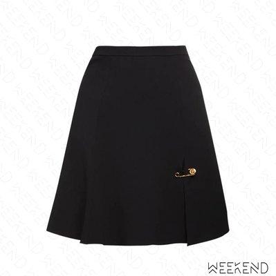 【WEEKEND】 VERSACE Cady Flared 別針 裙子 短裙 黑色 20秋冬
