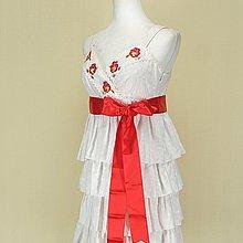◄貞新二手衣►wealth honor 山型屋 白色花朵V領無袖棉質洋裝F號(74266)