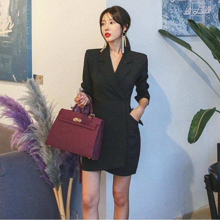 西裝洋裝 #20097 ?Mini Moda? 長袖西裝領 排釦顯瘦剪裁