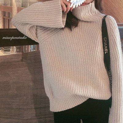 MO家2020冬季新款寬松慵懶顯瘦高領毛新衣保暖加厚坑條喇叭新袖羊毛衫ak