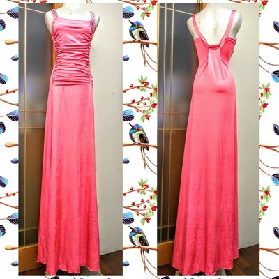 【SINSONPIN】馬卡龍粉色 左側水鑽排裝飾水鑽肩帶前拉皺長禮服-MA8