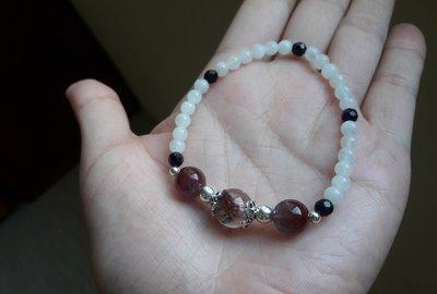 Rose 彩色幽靈水晶 /紫鈦晶 /月光石/ 藍砂石 /925純銀飾 / 設計款天然水晶手珠