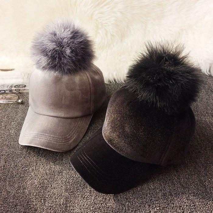 日本秋冬保暖時尚鴕鳥毛球 棒球帽 大球球 金絲絨面情侶鴨舌帽 絲絨帽子 毛球可拆