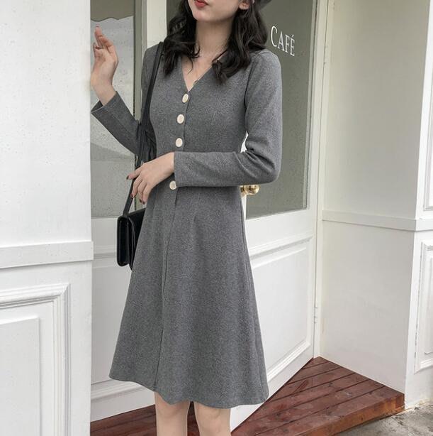 韓版洋裝 赫本小個子複古A字連身裙 V領中長裙子 小禮服 莎芭