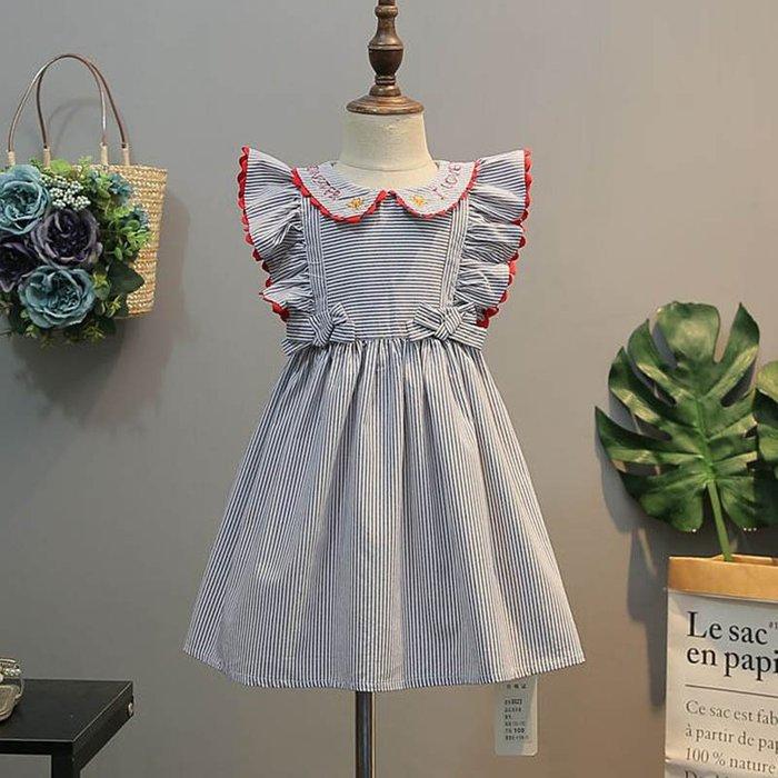 •*~ 辣媽咪衣飾小舖 ~*•❤童裝系列❤K640205韓版兒童夏款甜美可愛條紋飛袖蝴蝶結娃娃領公主裙洋裝