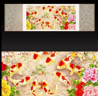 【幸運星】30*100cm 風水畫 荷花 九魚圖 開運  絲綢畫 卷軸畫 國畫 GF 辦公室客廳  A61