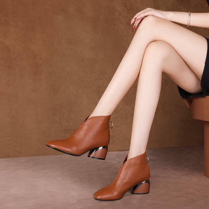 『Alice❤愛麗絲』真皮靴子秋冬新款馬丁靴女單靴英倫風女靴粗跟短靴女高跟踝靴