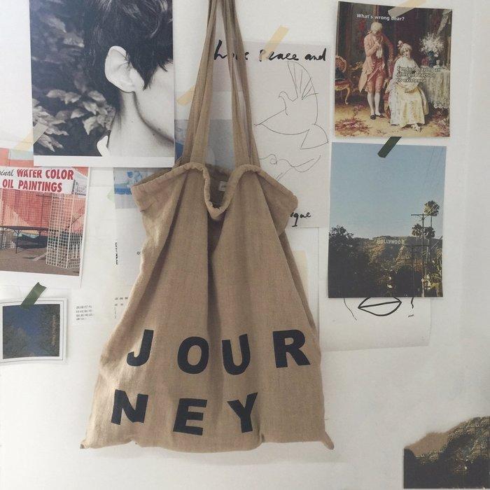 環保手提袋購物袋質感單肩包手提包字母布包
