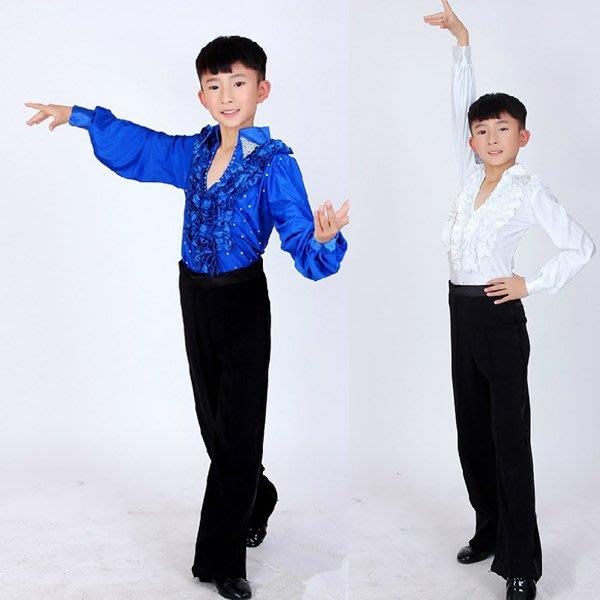 5Cgo【鴿樓】會員有優惠 41191542551 少兒表演 男童拉丁舞上衣比賽服裝舞蹈練功兒童演出服  兒童舞衣