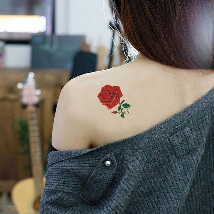 【萌古屋】單朵玫瑰單圖 - 男女防水韓風簡約紋身貼紙刺青貼紙K13
