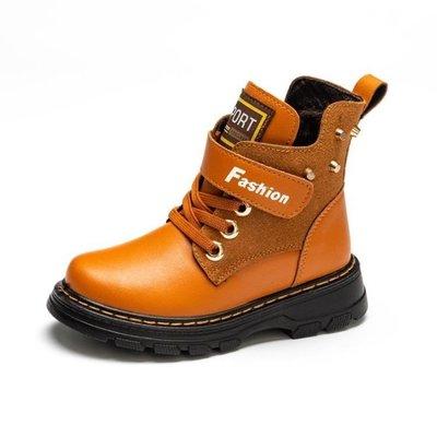ZIHOPE 軍靴 兒童馬丁靴男童加絨雪地靴英倫小學生中筒保暖軍靴子ZI812