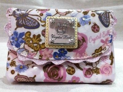 正品~Crystal Ball 狗頭包~米色花園多隔層零錢包 鑰匙包 卡片包