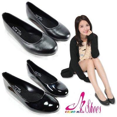 包鞋~CM日韓鞋館~~023~C818~ 製MIT 素面百搭 款平底娃娃包鞋.2色 黑皮 黑鏡