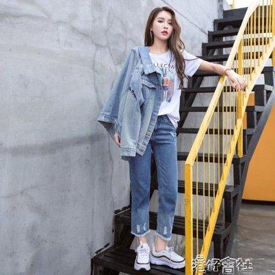 牛仔外套女寬鬆學生韓版bf春秋原宿刺繡破洞短款長袖上衣