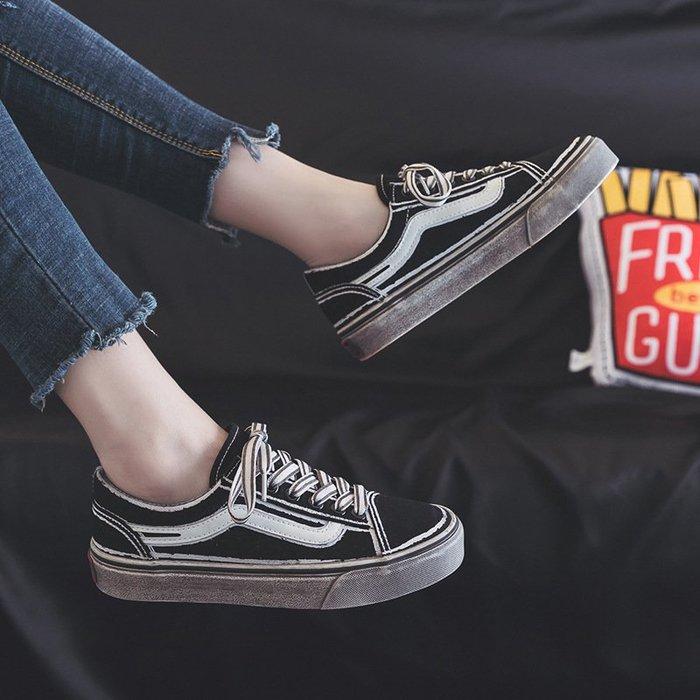 名將年新款港風帆布鞋男女小臟鞋韓版潮鞋休閒時尚ins情侶鞋