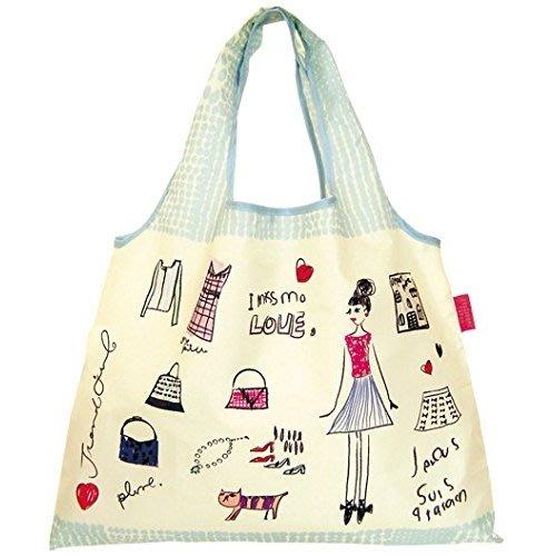 ☆Juicy☆日本 設計師 手繪 插畫 法式 女孩 貓咪 摺疊 托特包 單肩包 環保袋 折疊 購物袋 3498手繪款
