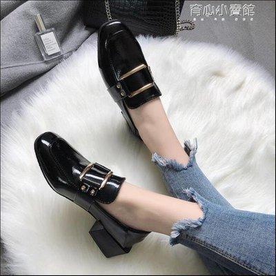 中跟鞋 網紅單鞋女春季新款復古英倫百搭中跟粗跟ulzzang英倫小皮鞋
