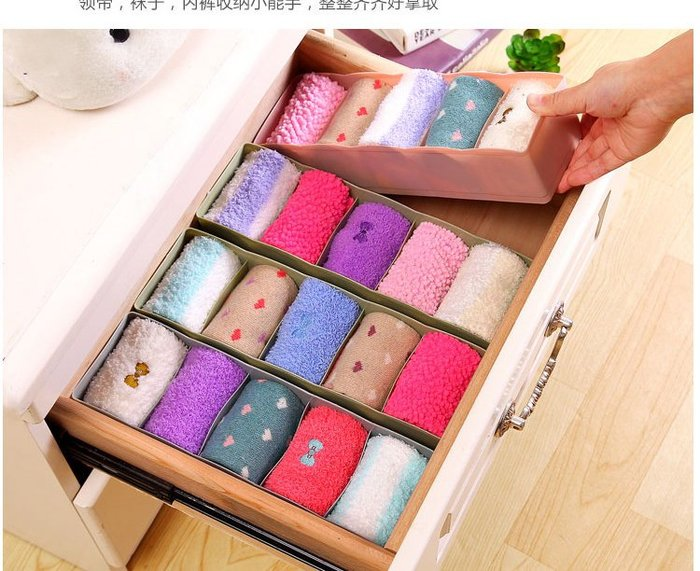 日式多功能5格內衣褲襪收納盒 小物收納 桌面文具收納 衣物收納 襪子收納盒 抽屜置物盒