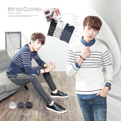 。SW。【K11332】正韓 韓國製 修身顯瘦 細緻觸感佳 質感彈性輕針織 極簡配色橫條  3色 圓領針織衫毛衣長T