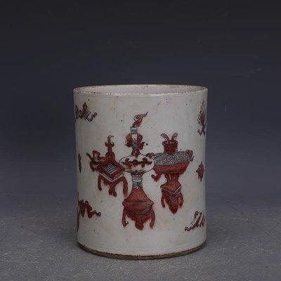 【三顧茅廬】大清康熙釉里紅手繪博古紋筆筒 文物家藏古瓷器古玩古董收藏擺件