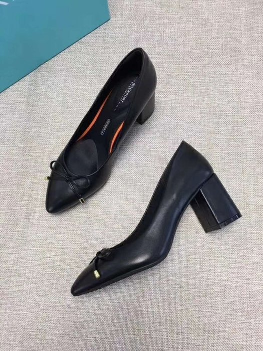 Hot shop 春季新款ROCKPORT真皮尖頭淺口蝴蝶結粗跟單鞋 舒適女鞋 (黑色 粉色)