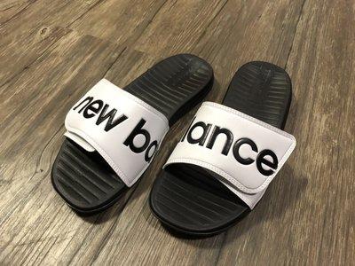NEW BALANCE NB230 黑白 英文logo 魔鬼氈 運動拖鞋 男女尺寸 SDL230WT