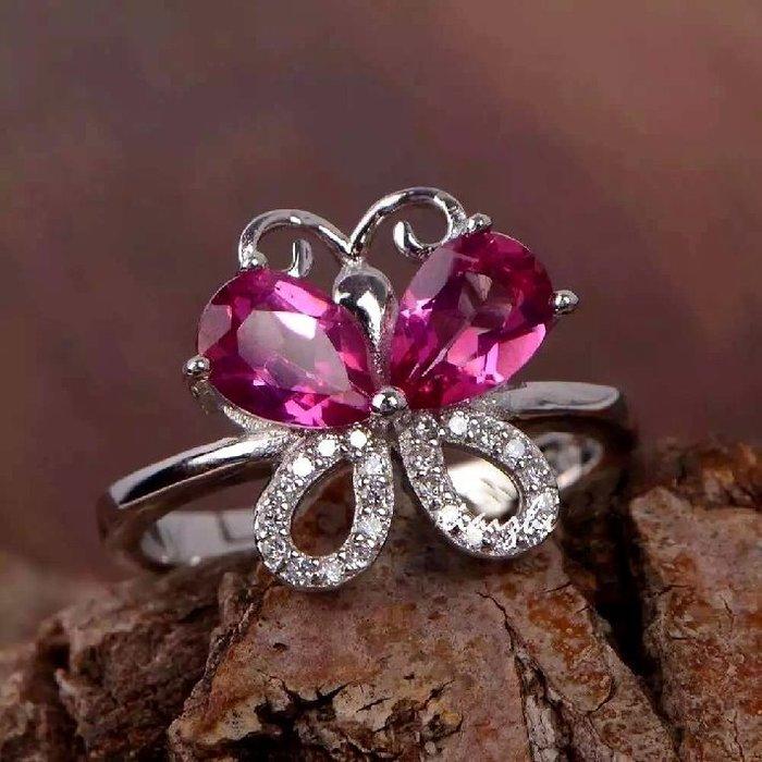 ((瑪奇亞朵的珠寶世界))超美豪華閃亮蝴蝶款 天然A級粉拓帕石鑲崁 戒指 送禮好用大器 精緻
