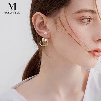 SWEET COVE~D家高級感CD耳環女氣質法式復古做舊耳釘2021年新款潮小香風耳飾
