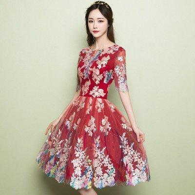 妞妞 婚紗禮服~紅色宴会新娘结婚敬酒服婚紗短禮服~3件免郵