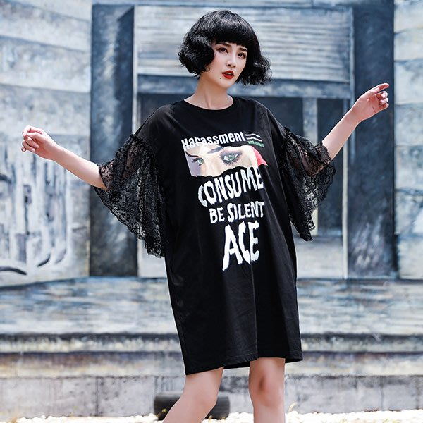 MyOrange.時尚柳丁【FLH2058】夏夜~蕾絲喇叭袖人像字母印花T恤洋裝
