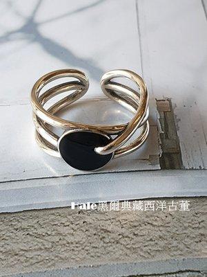 黑爾典藏西洋古董~純銀925銀 幾何流線設計琺瑯個性純銀半開戒~美國品牌韓國時尚雜誌