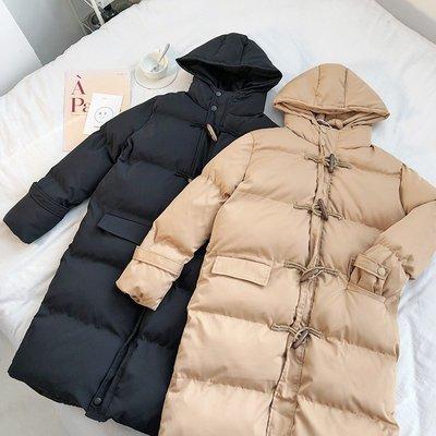 【柒姐姐】冬季厚實保暖復古牛角扣寬松顯瘦百搭長款連帽面包服棉服大衣