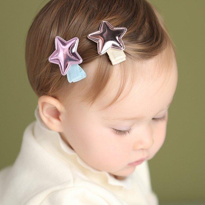☆草莓花園☆C170兒童髮夾 一組4入 亮皮五角星兒童髮夾  拍照攝影頭飾髮飾