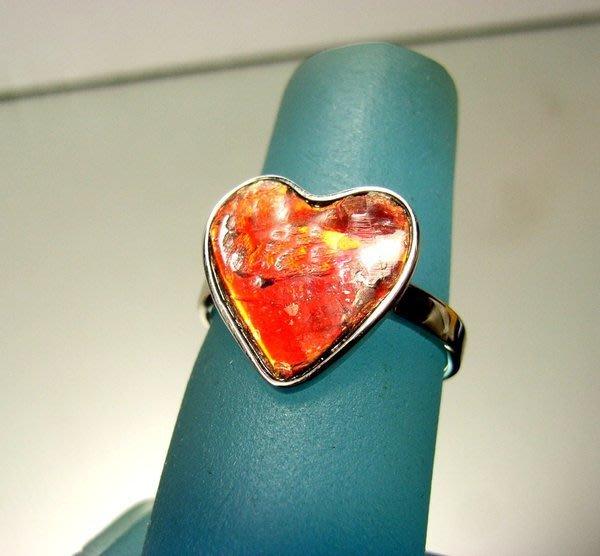 小風鈴~天然極品925銀七彩斑彩石戒指(重3.1g)又名~發達石.麒麟石(帶紅光)戒圍:15號
