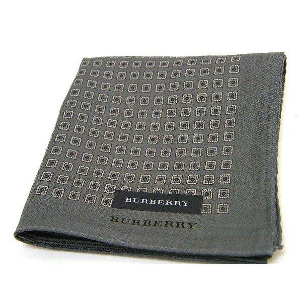 【新貨到】BURBERRY男仕時尚灰色小方格手帕(大)父親節88節禮物