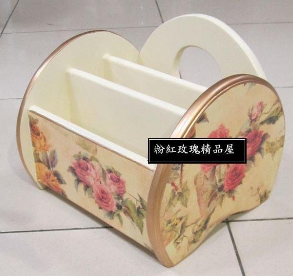 粉紅玫瑰精品屋~歐式田園木制玫瑰置物盒遥控器收納盒~