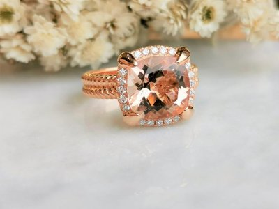 全新18K玫瑰金3.85卡摩根石配20份真鑽石戒指 | HK13.5號