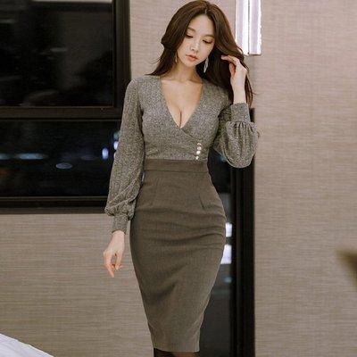 ♥ Fashion girl ♥ 2018 ♥韓 實拍 ♥ V領修身長袖針織連身裙 Z88352 連衣裙 禮服 洋裝
