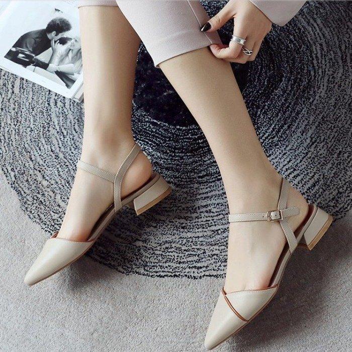 Fashion*真皮尖頭涼鞋 包頭一字扣帶低跟鞋 粗跟涼鞋/米白色*黑色*藕荷色 34-39碼
