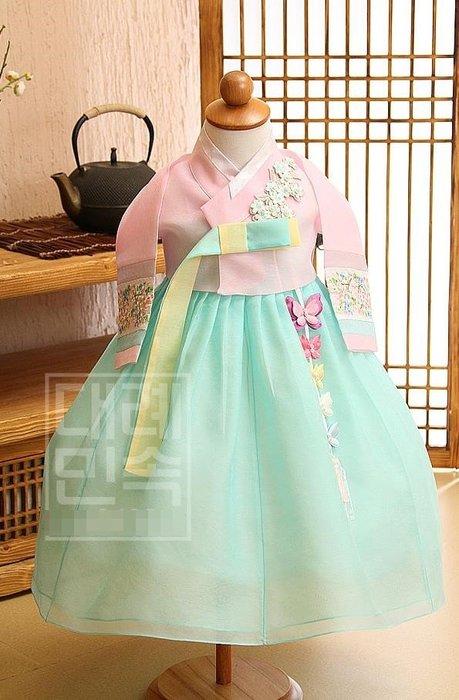 紫滕戀推出韓國進口面料女寶寶女孩兒童舞臺演出女童韓服朝鮮族服裝   150cm. 現貨免等