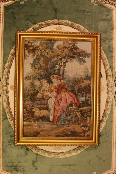 【家與收藏】特價稀有珍藏歐洲古典法國精緻優雅羅曼史愛情故事刺繡畫/掛毯壁飾9