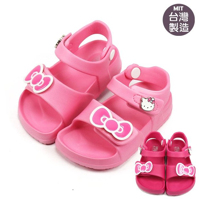 女童鞋/ Hello Kitty 凱蒂貓蝴蝶結可調式兒童輕量防水涼鞋. 桃.粉14-18號