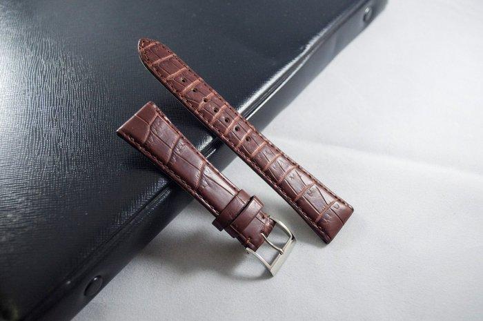 日本進口,高級手工真鱷魚皮錶帶,咖啡色,手工Handmade,18mm