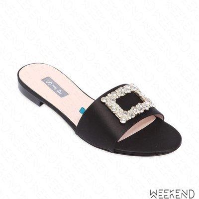 【WEEKEND】 Sarah Jessica Parker SJP Grace 緞面 鑲鑽 高跟鞋 黑色