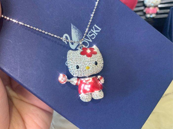 ※芯閣名牌精品店※ SWAROVSKI Hello Kitty 施華洛世奇 紅色凱蒂貓晶鑽 墜鍊 95成新  配件齊全