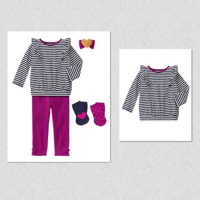 美國GYMBOREE正品新品Striped Ruffled Top條紋荷葉邊長袖上衣18~24m 2T.3T.4T.5T